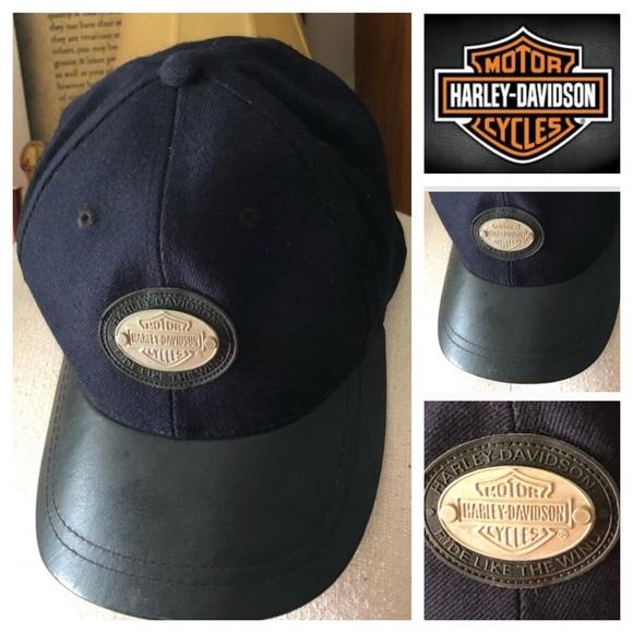 Harley-Davidson Other - Vintage Harley Davidson Leather Bill Baseball Cap fd9a6e259470